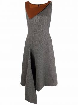 Oscar De La Renta herringbone asymmetric dress 19FN214HWC