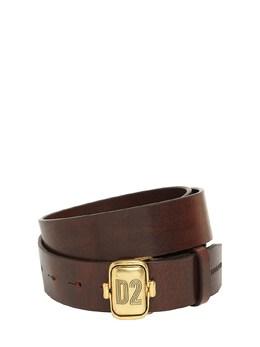 Leather Belt W/ D2 Plaque Dsquared2 74IG7F028-TTIxNTY1