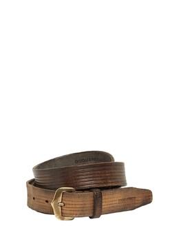Leather Crust Belt W/ Old Brass Buckle Dsquared2 74IG7F026-TTExNjg1