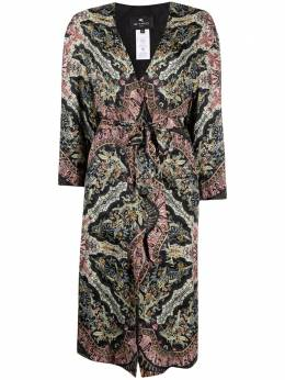 Etro embroidered belted silk coat 139534313