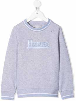 Herno Kids logo-embroidered cotton sweatshirt JFE001B50021