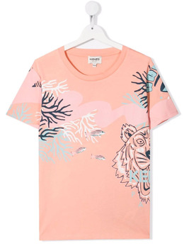 Kenzo Kids animal-print cotton T-shirt K15092