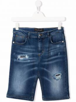 John Richmond Junior TEEN distressed-effect denim shorts RBP21150BE