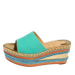 Christian Louboutin Blue Nubuck Leather Myriama Espadrille Wedge Sandals Size 39 428476