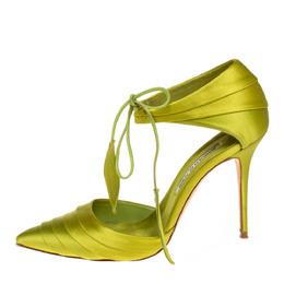 Manolo Blahnik Green Pleated Satin Reya Pumps Size 37.5 429864