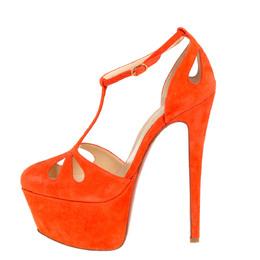Christian Louboutin Orange Suede T-Strap Mayada Platform Sandals Size 36.5 429923