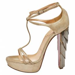 Christian Louboutin Beige Suede Benedetta Ankle Strap Sandals Size 36.5 428439