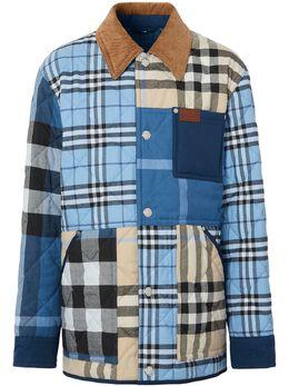 Burberry клетчатая куртка-рубашка в технике пэчворк 8038568