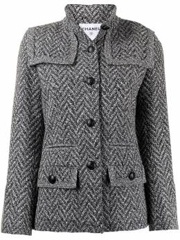 Chanel Pre-Owned pre-owned herringbone stand-up neck buttoned jacket P33753V24198