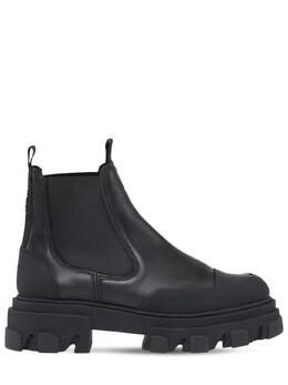 Кожаные Ботинки-комбат 50mm Ganni 74I6SP013-MDk50