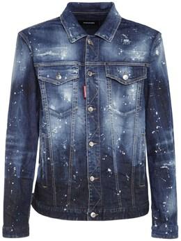 Printed Cotton Denim Jacket Dsquared2 74I04Y097-NDcw0