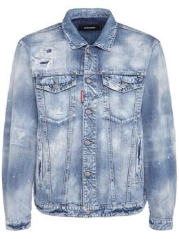 Distressed Cotton Denim Jacket Dsquared2 74I04Y005-NDcw0