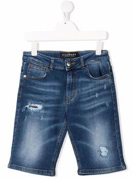 John Richmond Junior джинсовые шорты с эффектом потертости RBP21150BEMN