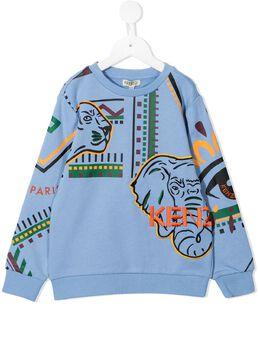 Kenzo Kids geometric embroidered-animal sweatshirt KR15558