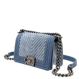 Chanel Blue Denim Chevron Boy Small Flap Crossbody Bag 426760