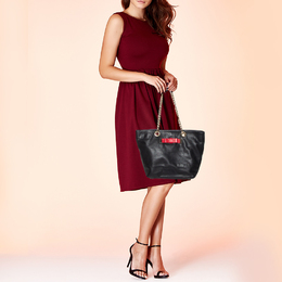 Red Valentino Black/Red Leather Bow Chain Shoulder Bag 429427