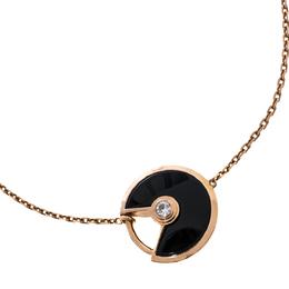 Cartier Amulette de Cartier Onyx Diamond 18K Rose Gold Bracelet XS 429639