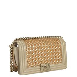 Chanel Beige Leather Boy Shoulder Bag 430676