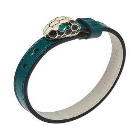 Bvlgari Serpenti Forever Enamel Gold Plated Green Leather Bracelet 430430