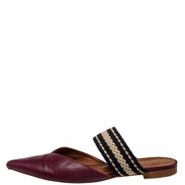 Malone Souliers Burgundy Leather And Fabric Maisie Pointed Toe Flat Mules Size 40 431374