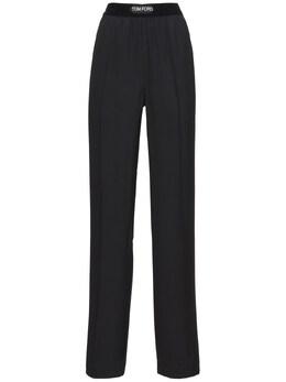 Logo Straight Leg Satin Pajama Pants Tom Ford 74IYAM015-TEI5OTk1