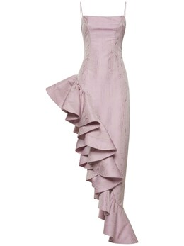 Платье Из Жаккарда С Оборками Giuseppe Di Morabito 74IWW4011-MjQ1