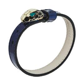 Bvlgari Serpenti Forever Enamel Gold Plated Metallic Blue Leather Bracelet 430432