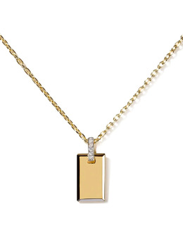 As29 18kt yellow gold diamond small Tag pendant necklace TAG005NK18KWYDIA0001