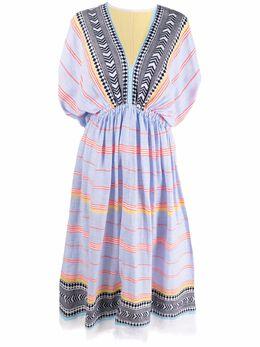 Lemlem платье миди с короткими рукавами и V-образным вырезом SW2132