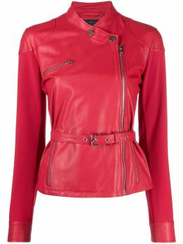 Pinko collarless leather biker jacket 1G16E7Y636R51