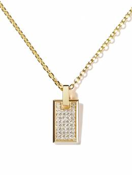 As29 18kt yellow gold diamond small Tag pendant necklace TAG004PD18KWYDIA0001