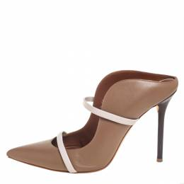 Malone Souliers Brown/Beige Leather Maureen Pointed Toe Mules Size 40 431677