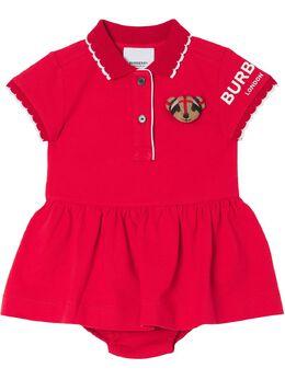 Burberry Kids платье-рубашка поло с декором Thomas Bear 8043111