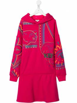 Kenzo Kids embroidered hooded sweater dress KR30088