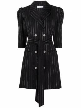Manuel Ritz pinstriped double-breasted dress 3036AD0121400199