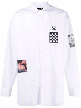 Raf Simons X Fred Perry patch-print shirt SM1864COTTON100
