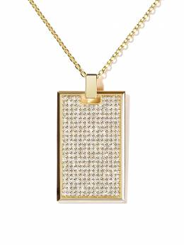 As29 18kt yellow gold TAG large pavé diamond rectangle pendant necklace TAG002NK18KYDIA0001