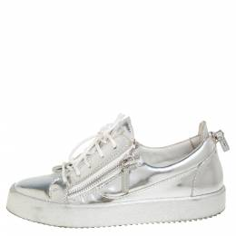Giuseppe Zanotti Design Silver Leather Lace up Sneakers Size 40 433363